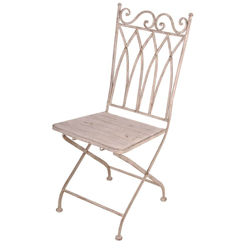 Aged Metal Folding Bistro Chair Square Back, Wood Seat