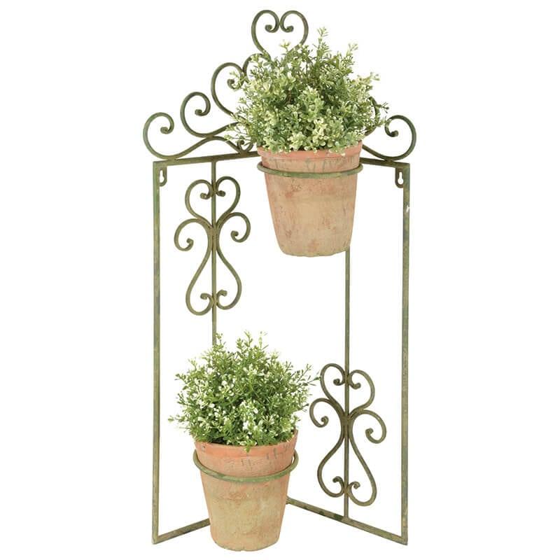 Aged Metal Flower Pot Holder Bi Fold Stand Green Esschert Design Usa