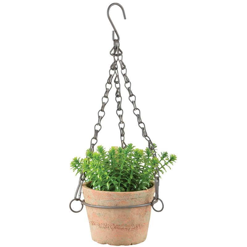Hanging Terracotta Pots: Aged Terracotta Hanging Flower Pot