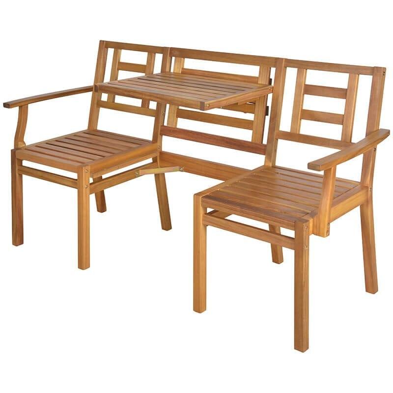 Enjoyable Wooden Chat Bench Acacia Wood Creativecarmelina Interior Chair Design Creativecarmelinacom