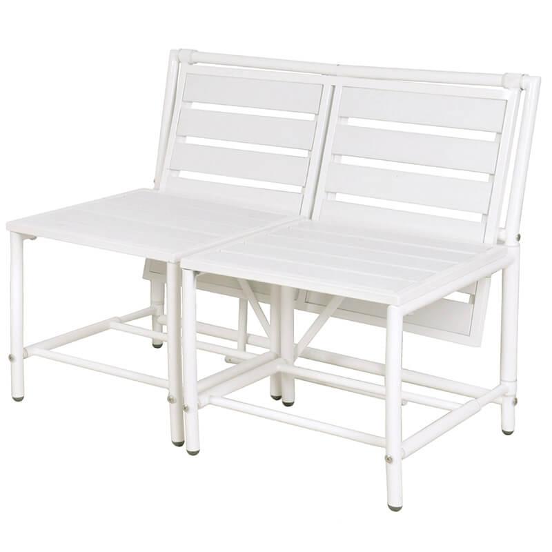 Terrific Convertible Bench White Metal Polywood Frankydiablos Diy Chair Ideas Frankydiabloscom