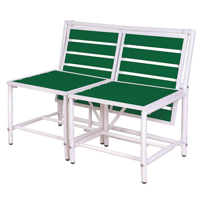 Amazing Convertible Bench Green Metal Polywood Frankydiablos Diy Chair Ideas Frankydiabloscom