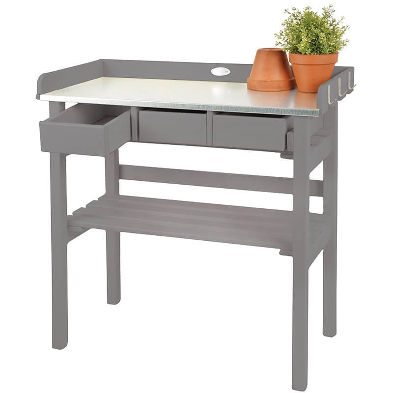 Cool Garden Work Bench Gray Painted Pine Wood Gmtry Best Dining Table And Chair Ideas Images Gmtryco