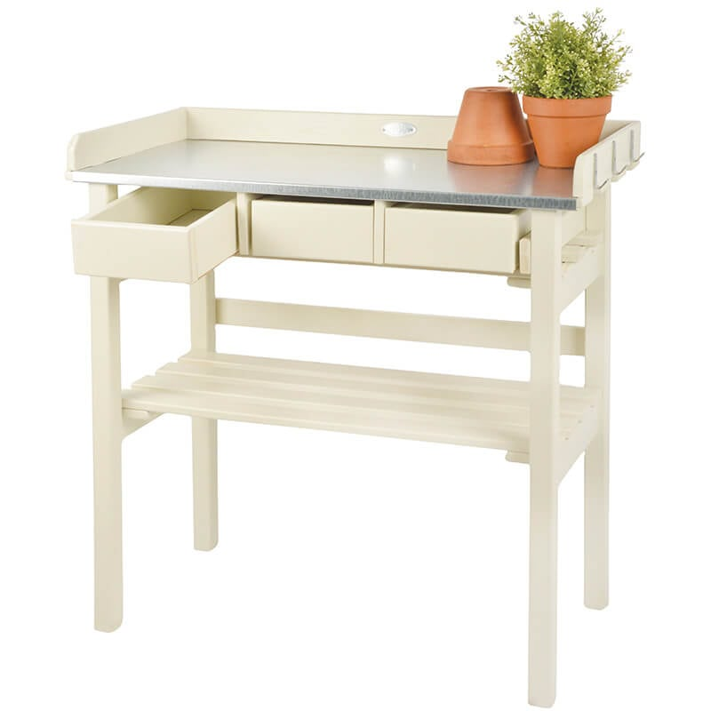 Pleasing Garden Work Bench White Painted Pine Wood Gmtry Best Dining Table And Chair Ideas Images Gmtryco