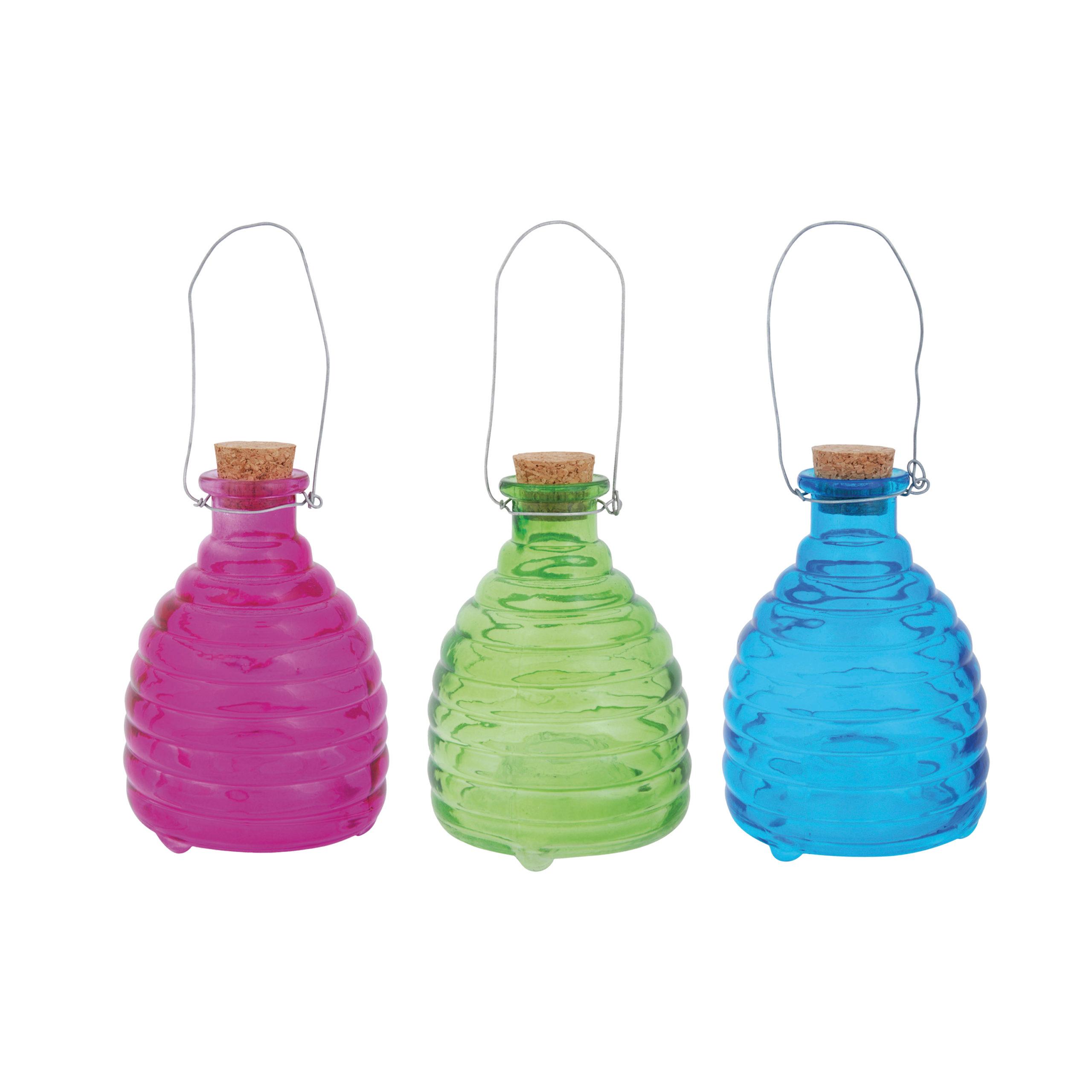 Beehive Style Wasp Trap Glass Green Blue Pink 3 Asst Colors Esschert Design Usa