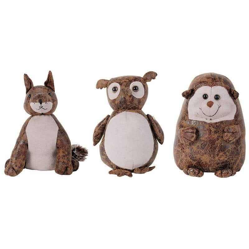 Leather Door Stop Asst Small Fox Owl And Hedgehog Esschert