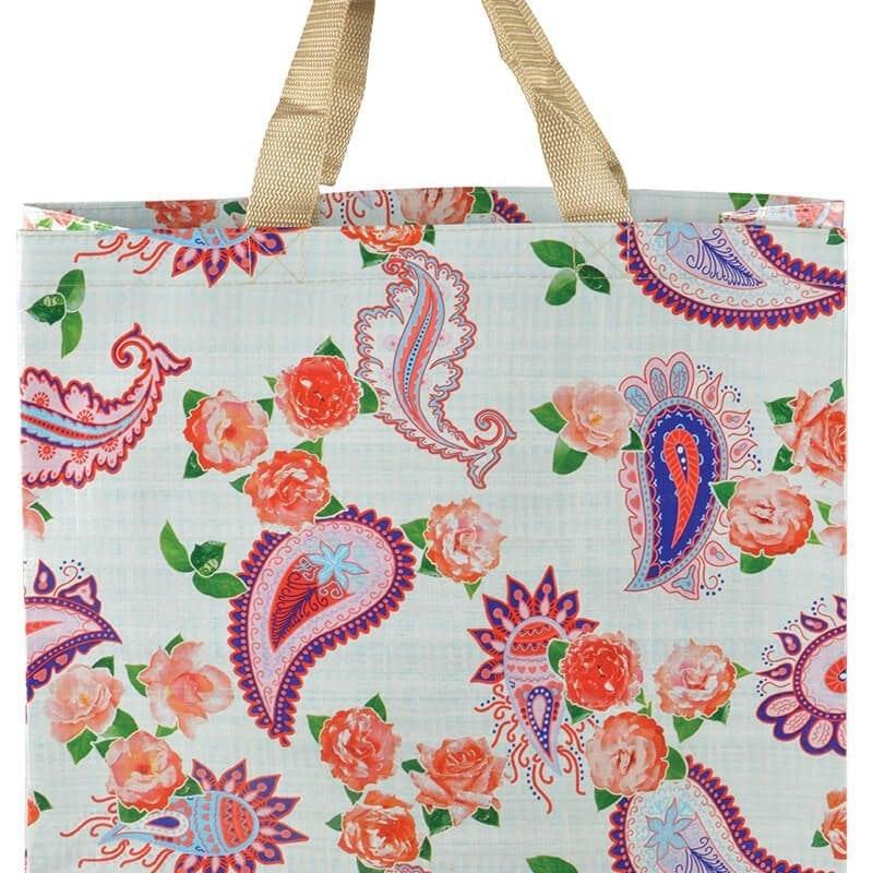 Shopping Bag White Paisley Print Esschert Design Usa