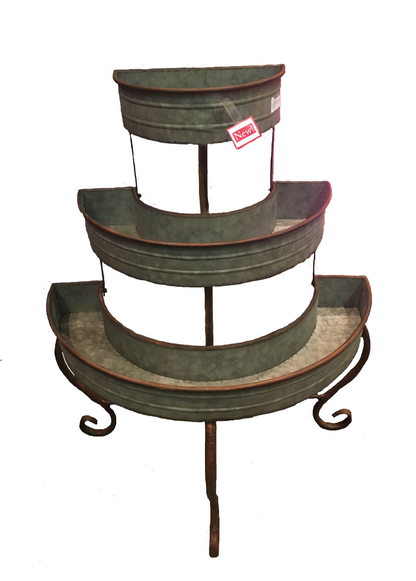 Three Tier Half Round Plant Stand Zinc Esschert Design Usa