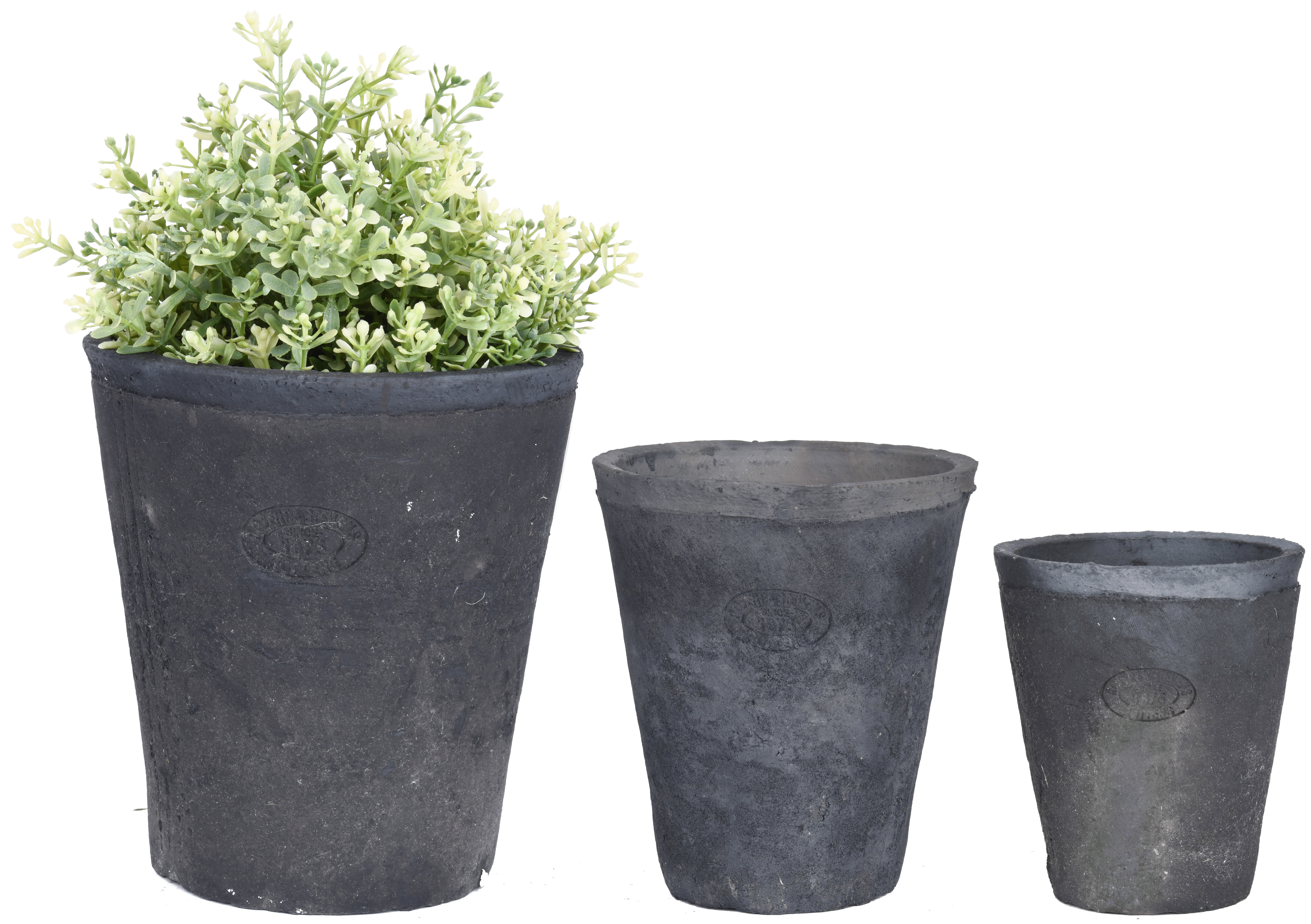 188 & Aged Terracotta Set of 3 Round Flower Pots Charcoal \u2013 Small
