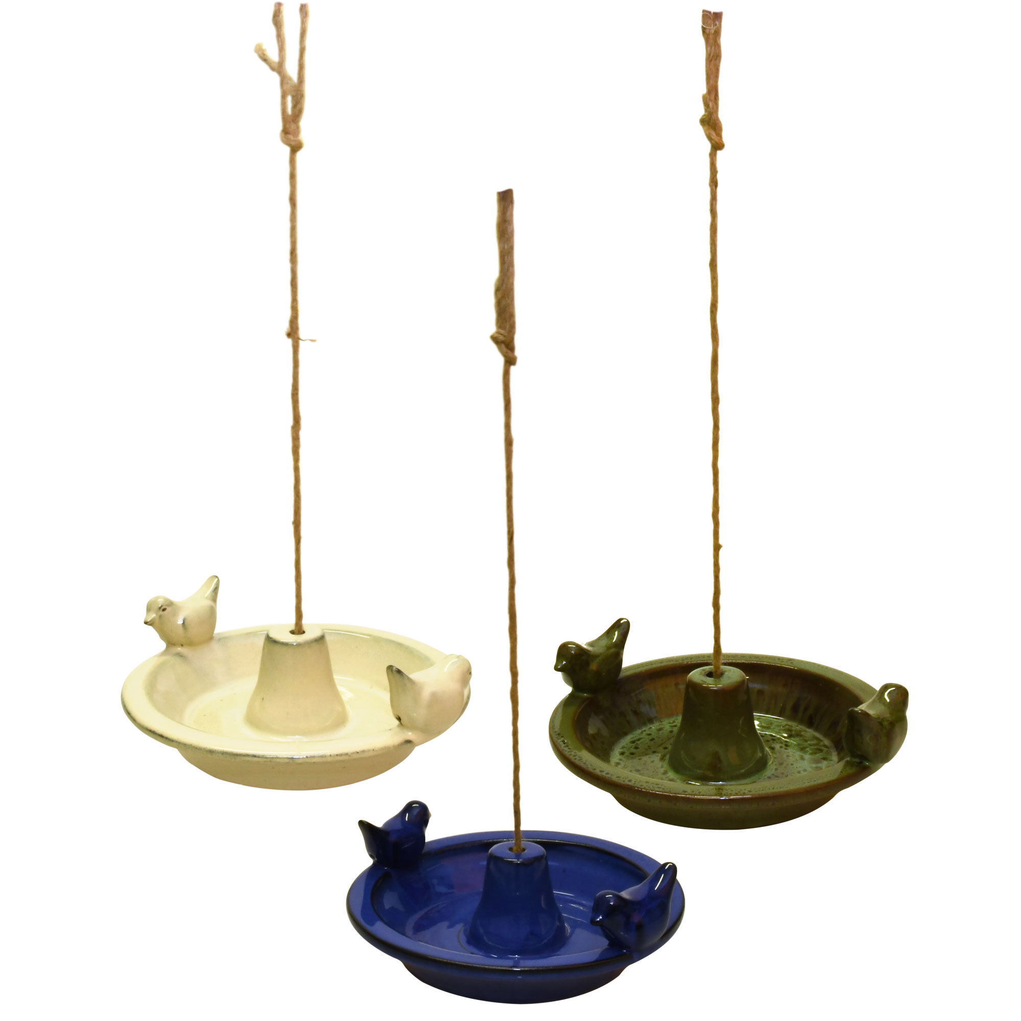 Hanging Ceramic Bird Bath Cream Green
